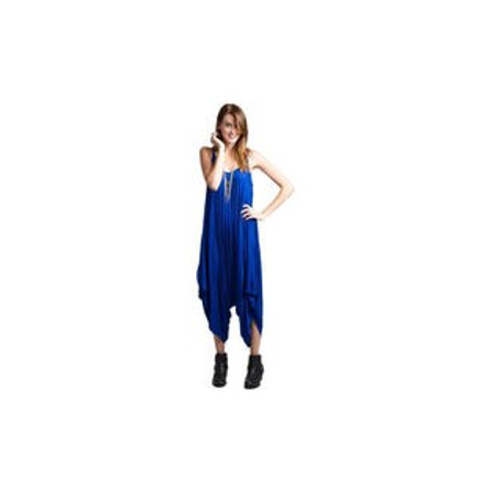 Women V-Neck Loose Wide Bottom Pleated Jumpsuit Blue](Blue Jumpsuit)