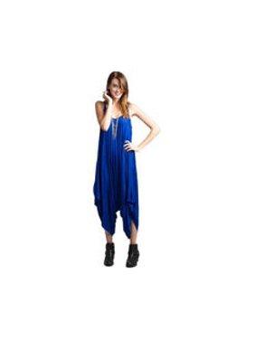 Women V-Neck Loose Wide Bottom Pleated Jumpsuit Blue