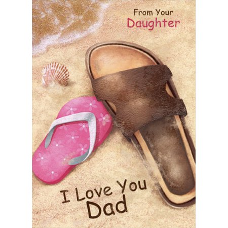 Designer Greetings Brown and Pink Sandals on Beach: Dad Father's Day Card from