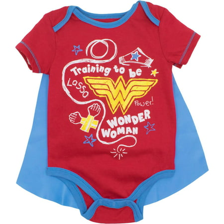 Wonder Woman Onsie (DC Comics Wonder Woman Baby Girls' Bodysuit and Cape, Red (6-9)