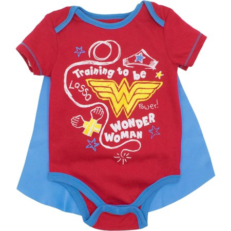DC Comics Wonder Woman Baby Girls' Bodysuit and Cape, Red (6-9 Months) - Baby Wonder Woman Onesie