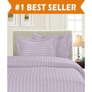1800 Thread Count DAMASK STRIPE Duvet Cover Set, Twin/Twin XL, Lavender/Lilac