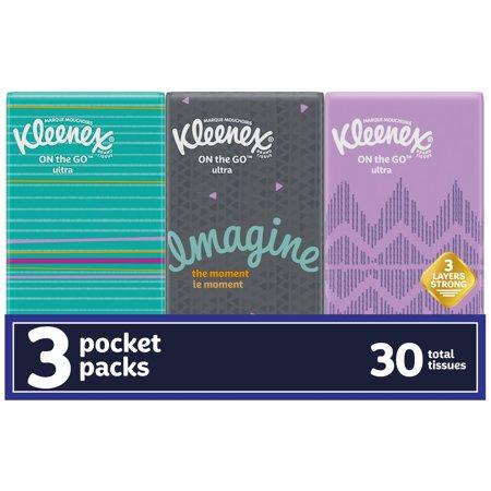 Kleenex On-The-Go Facial Tissues, 3 Travel Packs (30 Total Tissues)
