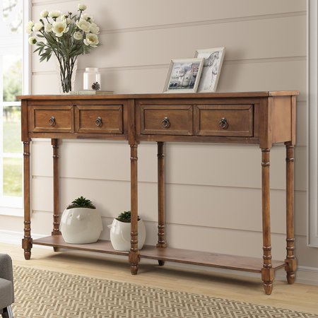 Buffet Cabinet Sideboard Console Table for Entryway, Storage Cabinet with 2 Drawers, Bottom Shelf, Home Furniture Console Table, Upgrade Solid Wood Frame & Legs, 58
