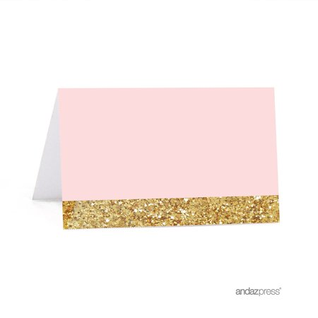 Blush Pink Gold Glitter Print Wedding Printable Table Tent Place Cards 20 Pack
