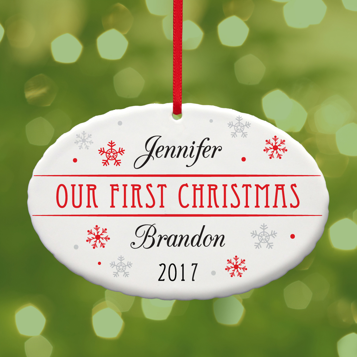 Personalized Couple's First Christmas Oval Ornament