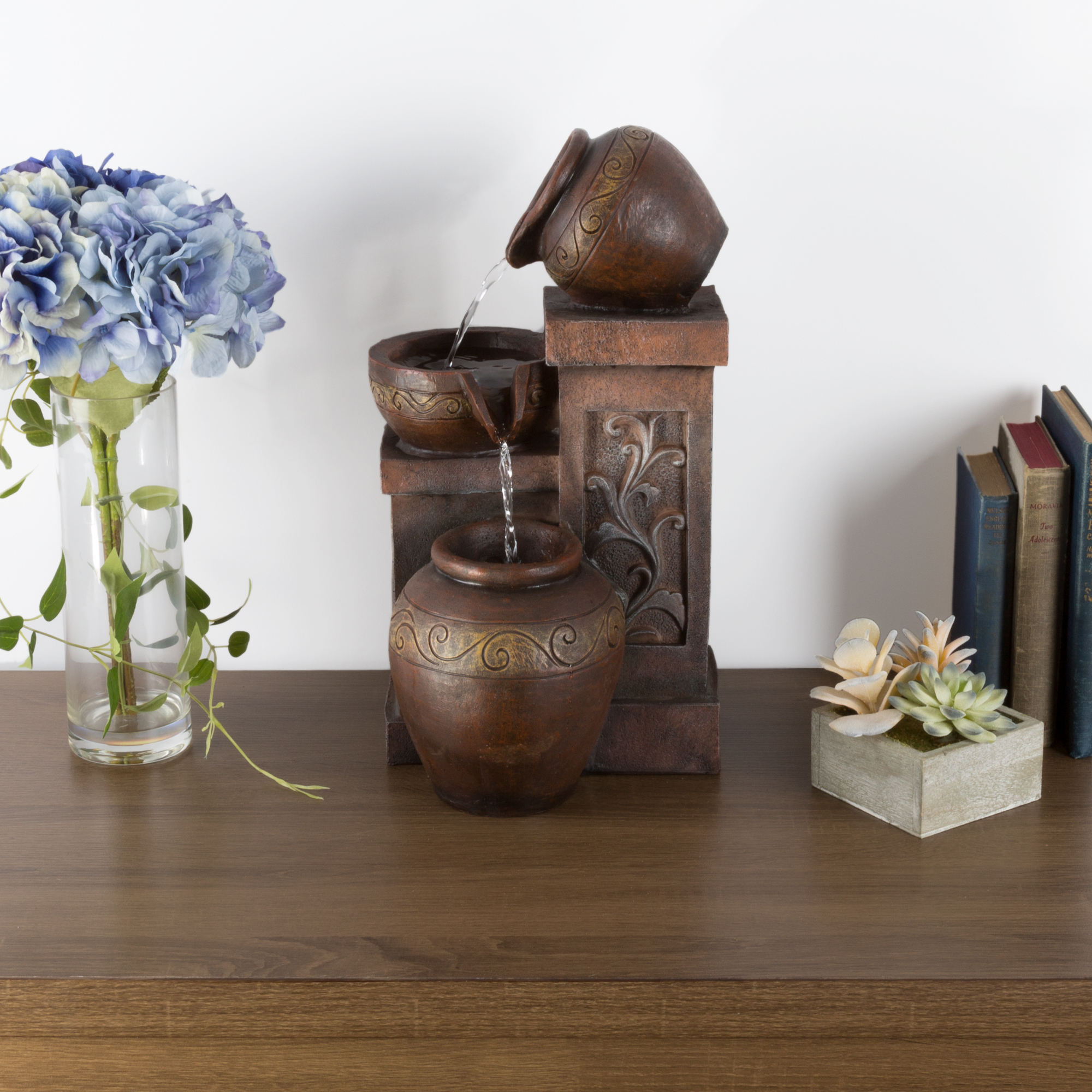 Tabletop Water Fountain With Rustic Jugs and LED Lights Tiered Vase Table Fountain by Pure... by Trademark Global