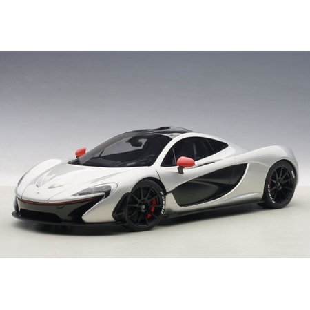 McLaren P1 in Ice Silver w Red Accents Composite Model Car in 1:18
