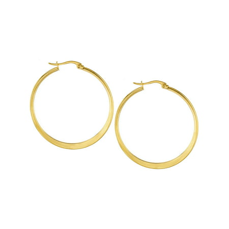Stainless Steel Gold Plated High Polished Hoop Earrings