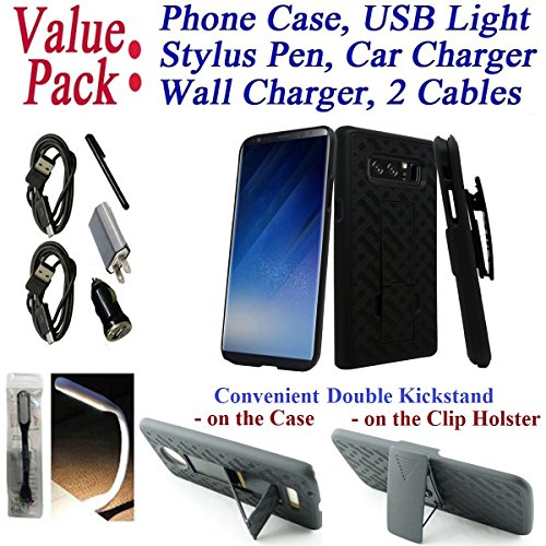 "Value Pack Cables Chargers + for 6.3"" Samsung Note 8 note8 Case Phone Case Belt Clip Holster 2 Kick Stands Rugged Slip Resistant Bumper Cover Black Combo Set"