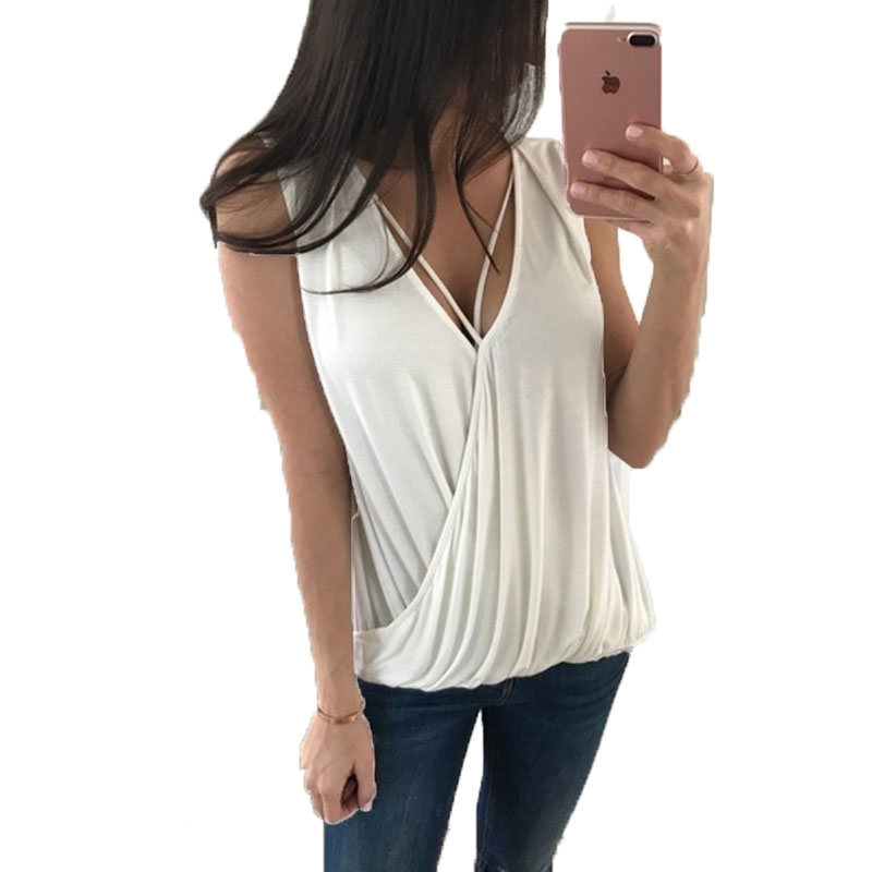 Spring and Summer Women Sexy Deep V-Neck Shirt Casual Sleeveless Top Fashion Blouse