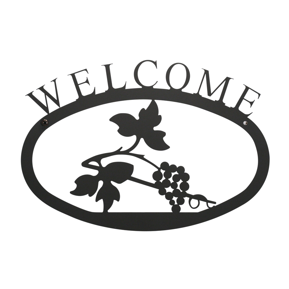 Village Wrought Iron WEL-157-L Grapevine Welcome Sign - Large