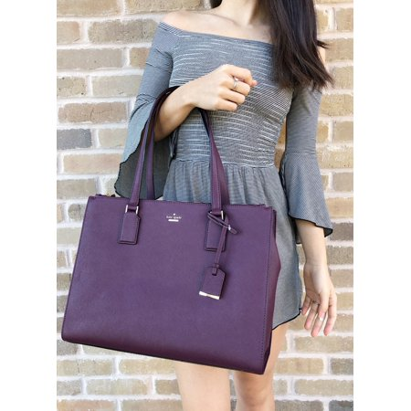 82f11dff17c2 Kate Spade Cameron Street Jensen Leather Large Tote Satchel Deep Plum  Burgundy