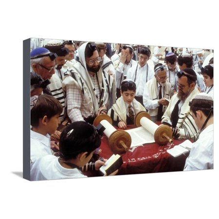 A Boy Reading the Torah During His Bar Mitzvah Stretched Canvas Print Wall Art