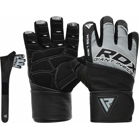 RDX Weight Lifting Gloves GOAT LEATHER Gym Training Straps Fitness Body