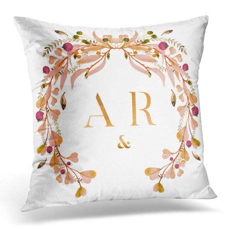 ARHOME Watercolor Wedding Wreath Monogram Floral in Green and Pastel Colors on White Save The Date Thank You Pillow Case Pillow Cover 20x20 (Floral Monogram)