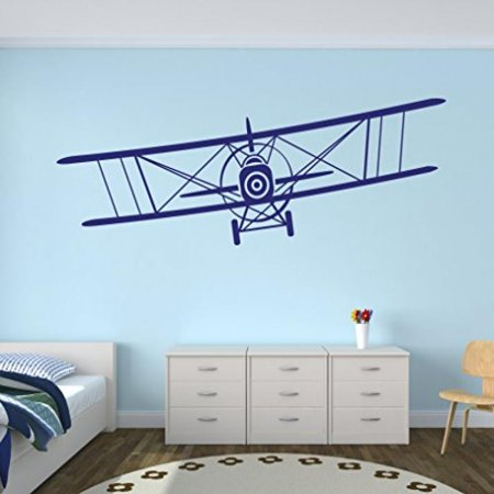 Large Airplane Wall Decal Biplane Art Boys Kids Room Decor Nursery