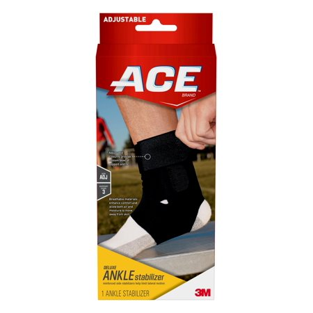 ACE Brand Deluxe Ankle Stabilizer, Adjustable, Black, (Swimming Ankle Band)