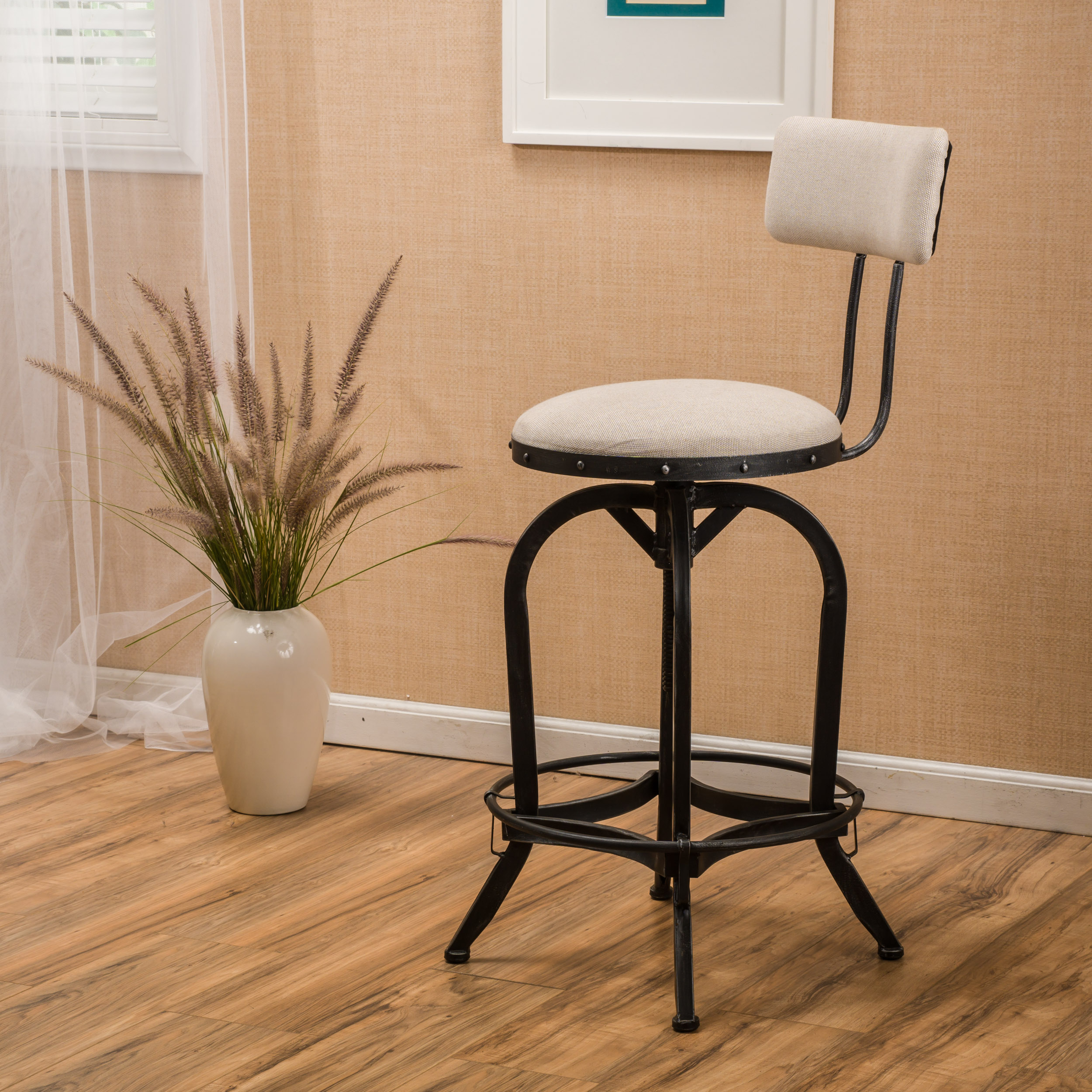 Rosario Off-White Fabric Barstool With Backrest
