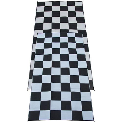 "Fireside Patio Mats Patio/RV Mat, 9"" x 18"", Racing Checks/Checkered"