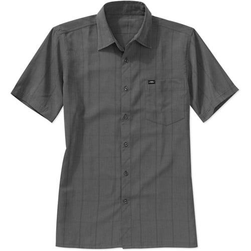 Men's Short Sleeve Yarn Dye Micro Poly Woven Shirt
