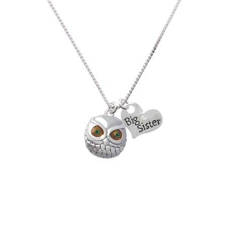 Eyed Owl Pendant - Silvertone Large Round Owl with Green Crystal Eyes Big Sister Heart Necklace