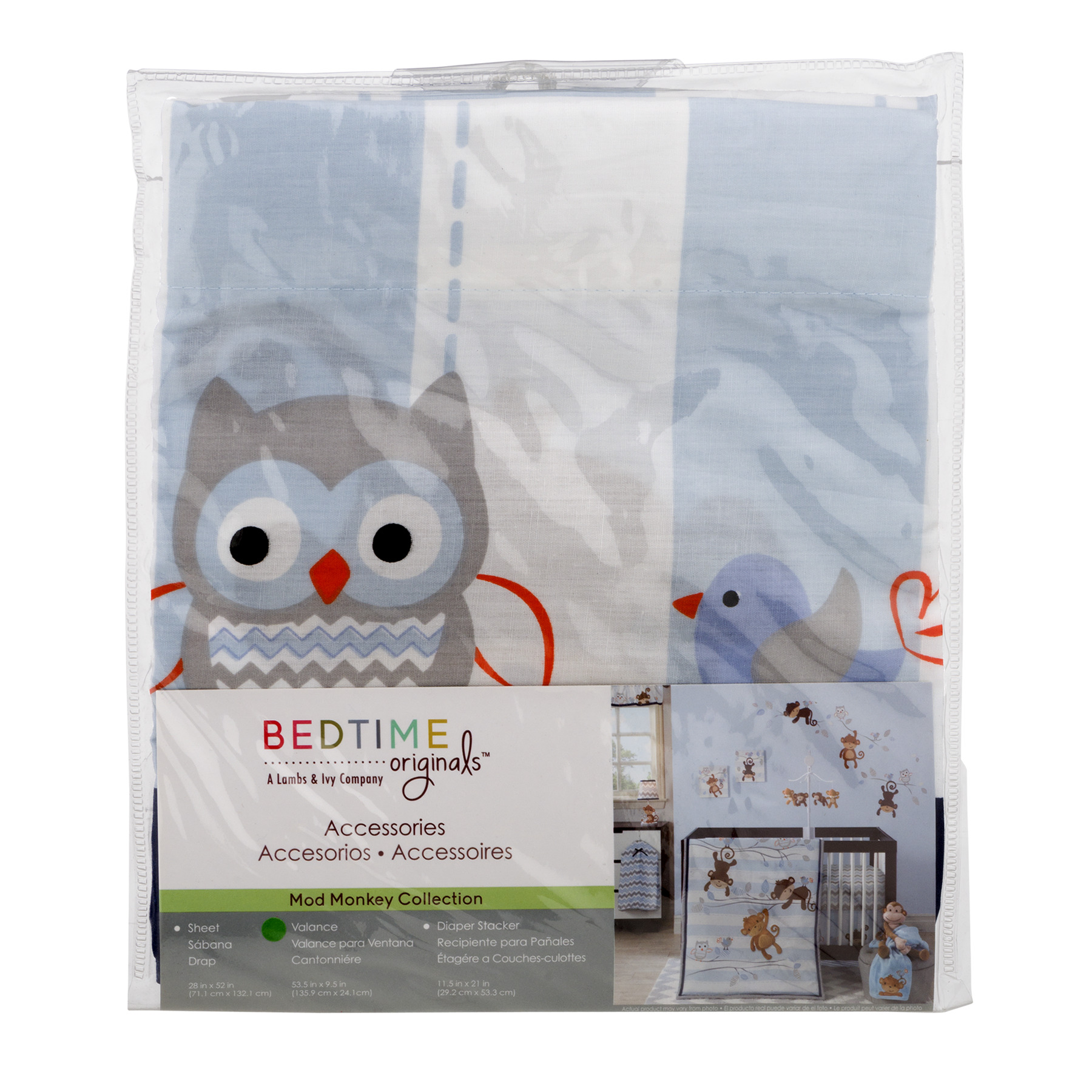 Bedtime Originals Valance, Mod Monkey Collection, 1.0 CT