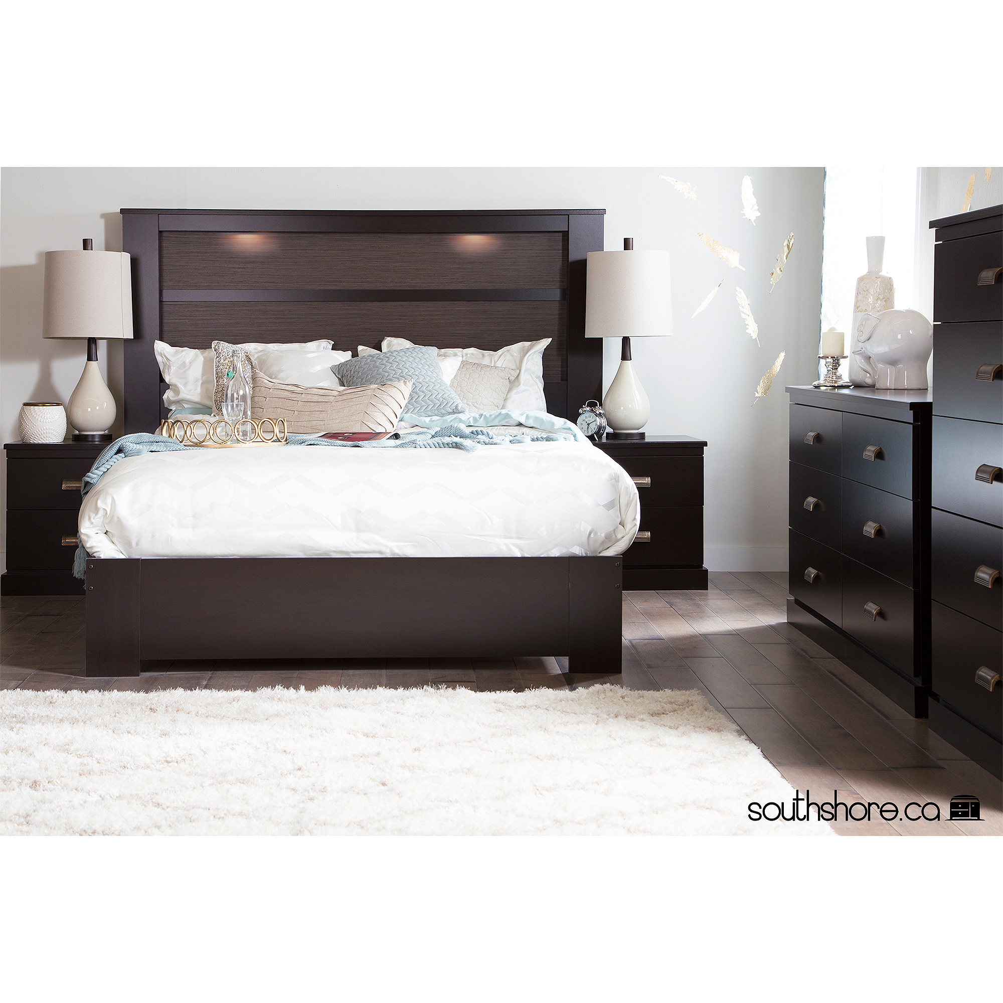 Queen platform bed with headboard - South Shore Gloria King Headboard And Queen Platform Bed Multiple Finishes Walmart Com