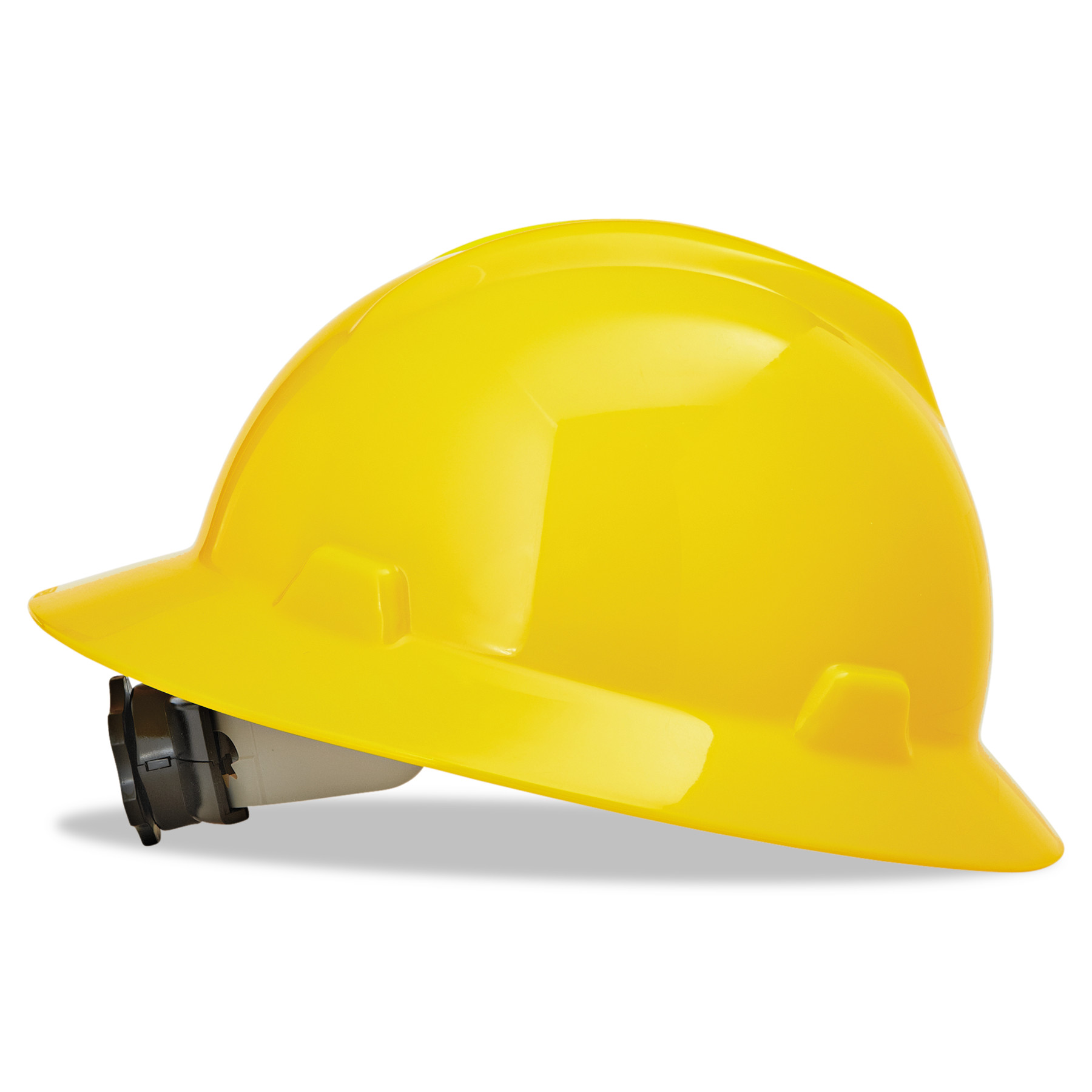 MSA V-Gard Full-Brim Hard Hats, Ratchet Suspension, Size 6 1 2 8, Yellow by SAFETY WORKS