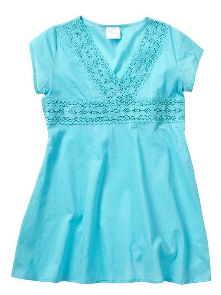 Azul Girls Turquoise V-Shape Neckline Cap Sleeve Tunic Cover Up