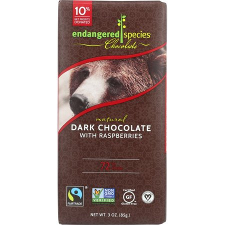 Endangered Species Grizzly, Natural Dark Chocolate With Raspberries (72% Cocoa), 3-Oz Bars (Pack Of 12)