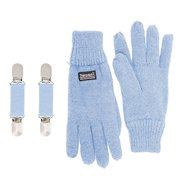 SANREMO Unisex Kids Knitted Fleece Lined Warm Winter Gloves and Glove Clips set (4-7 Years, Light Blue)