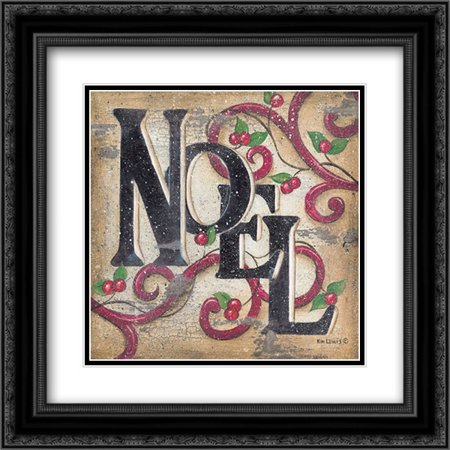 Noel 2x Matted 20x20 Black Ornate Framed Art Print by Lewis,