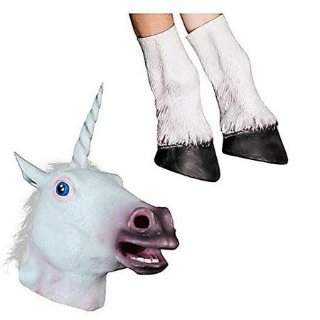 Halloween Adult Unicorn head latex Mask with 1 Pair Unicorn Hooves Gloves (Adult Latex)