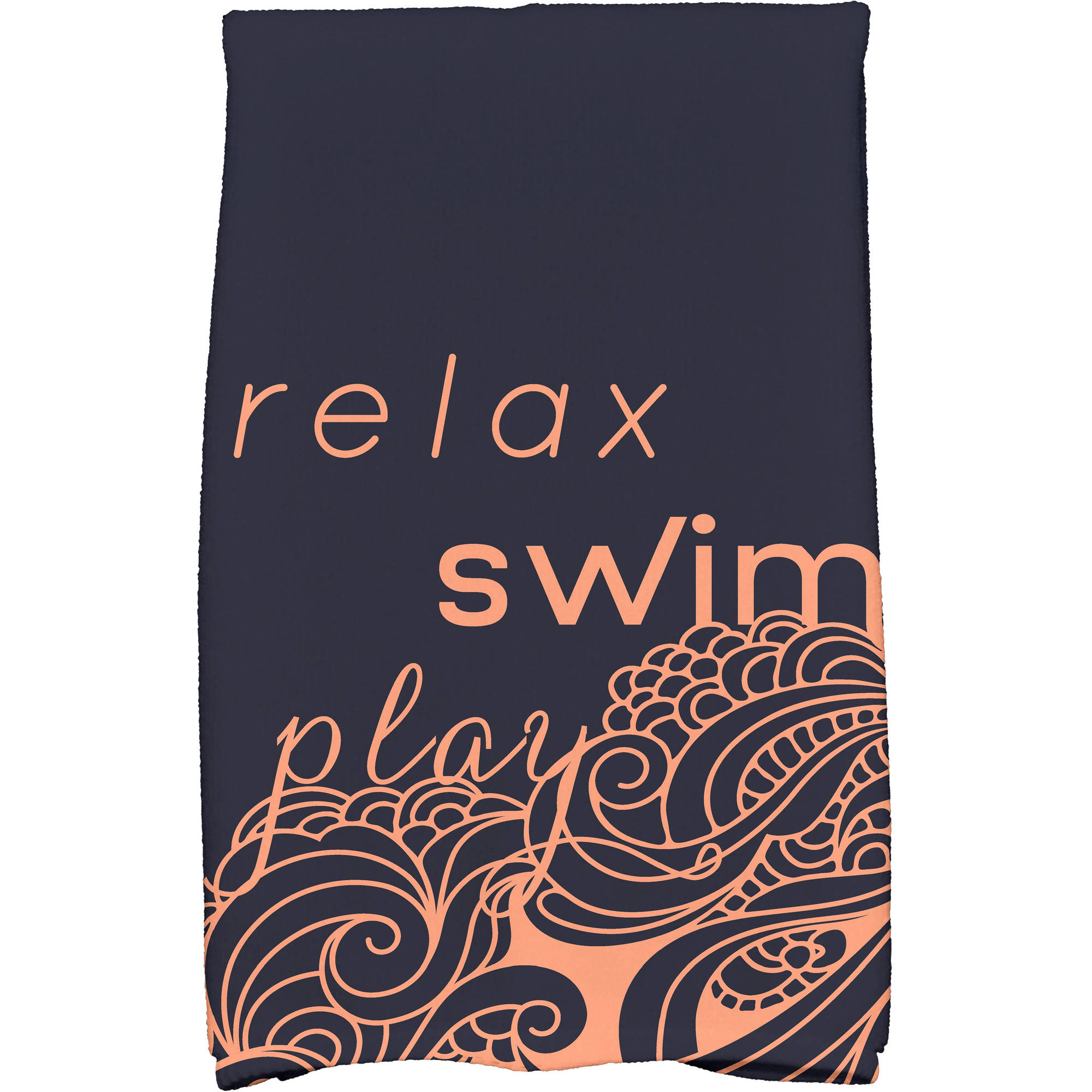 "Simply Daisy 16"" x 25"" Mellow Mantra Word Print Kitchen Towel"