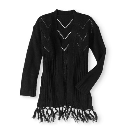 Girls' Fringe Hem Cardigan Sweater