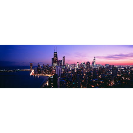 Aerial view of a city at the lakeside Lake Michigan Gold Coast Chicago Illinois USA Canvas Art - Panoramic Images (36 x 12) - Gold Corset