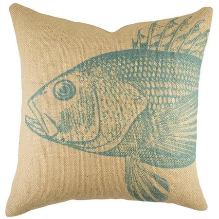 TheWatsonShop Large Fish Burlap Throw Pillow - Walmart.com