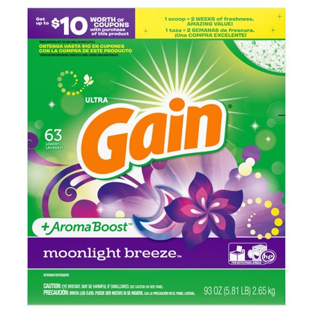Gain Powder Laundry Detergent for Regular and HE Washers, Moonlight Breeze Scent, 93 ounces 63