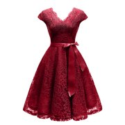 Market In The Box Women's Lace Dress Vintage V Neck Midi Cocktail Party Dress Cap Sleeve Bridesmaid Dress with Belt Specail Occasion Short Dress