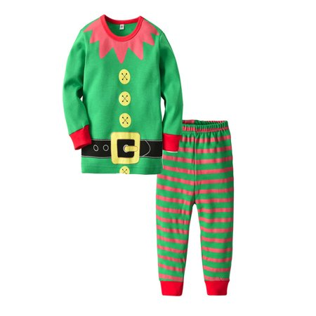 Christmas Baby Toddler Girls Boy Cartoon Tops Striped Pants Sets Outfit Clothes
