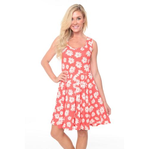 White Mark Women's Fit-and-Flare Floral Skater Dress Coral/White Floral Dress-L