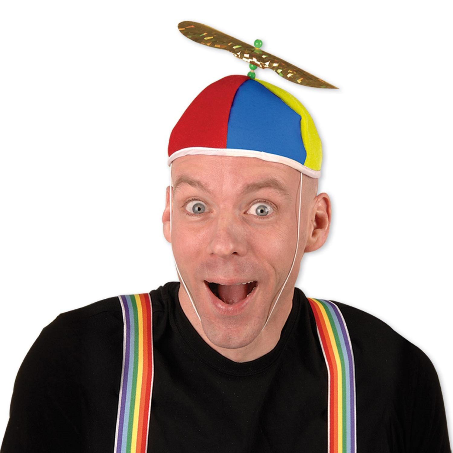 Pack of 12 Multi-Color Spinning Cyclone Propeller Beanie Party Hat