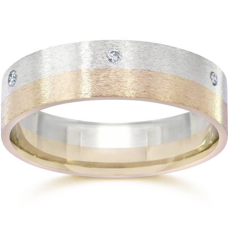 Brushed Two Tone 6mm Flat 1/3ct Diamond Wedding Band 14K Gold - image 1 of 1