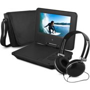 """Ematic 7"""" Portable DVD Player with Color Headphones and Carrying Case Bundle"""