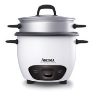 Aroma ARC-743-1NG Housewares 6-Cup (Cooked)  (3-Cup uncooked) Pot Style Rice Cooker and Food Steamer