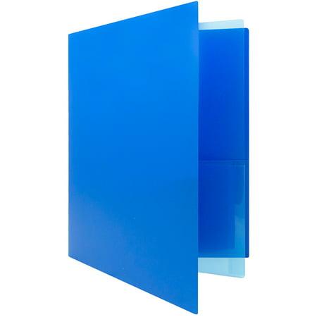 JAM Paper Heavy Duty Plastic Multi Pocket Folders, 4 Pocket, Blue, 2 Folders/pack