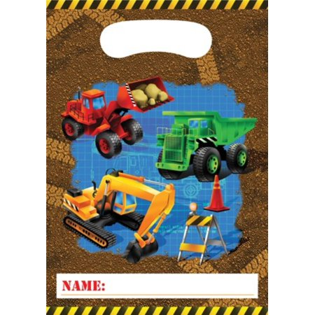 Club Pack of 96 Under Construction Plastic Loot Bags 9