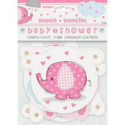 Pink Elephant Baby Shower Banner, 4.5ft