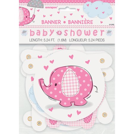Pink Elephant Baby Shower Banner, 4.5ft (Pink Gray Elephant Baby Shower)